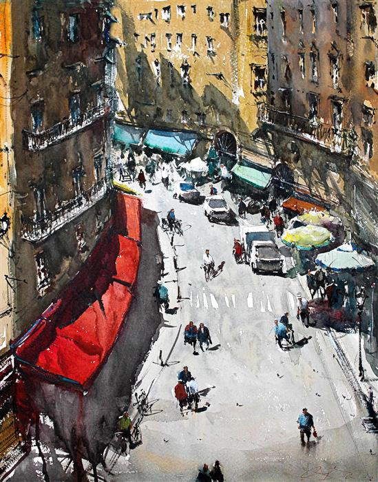 Original art for sale at UGallery.com | Naples Street Life and Colors by MAXIMILIAN DAMICO | $950 |  | 20' h x 15.5' w | ..\art\watercolor-painting-Naples-Street-Life-and-Colors