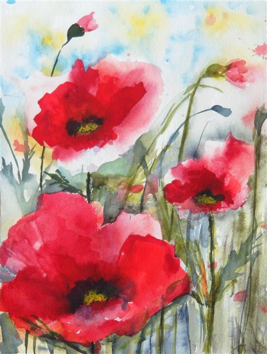 Original art for sale at UGallery.com | Red Poppies XVIII by KARIN JOHANNESSON | $500 |  | 15' h x 11' w | ..\art\watercolor-painting-Red-Poppies-XVIII