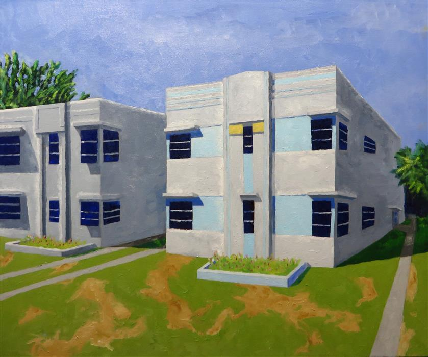 Original art for sale at UGallery.com | Two Story Apartments by MITCHELL FREIFELD | $975 |  | 30' h x 35' w | ..\art\oil-painting-Two-Story-Apartments