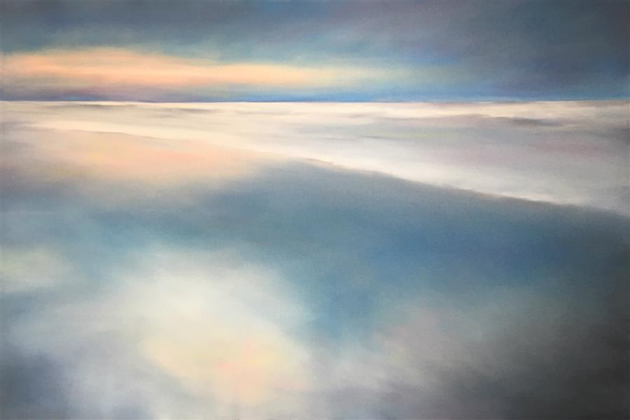 Original art for sale at UGallery.com | Calm Ocean Morning by NANCY HUGHES MILLER | $1,150 |  | 24' h x 36' w | ..\art\oil-painting-Calm-Ocean-Morning