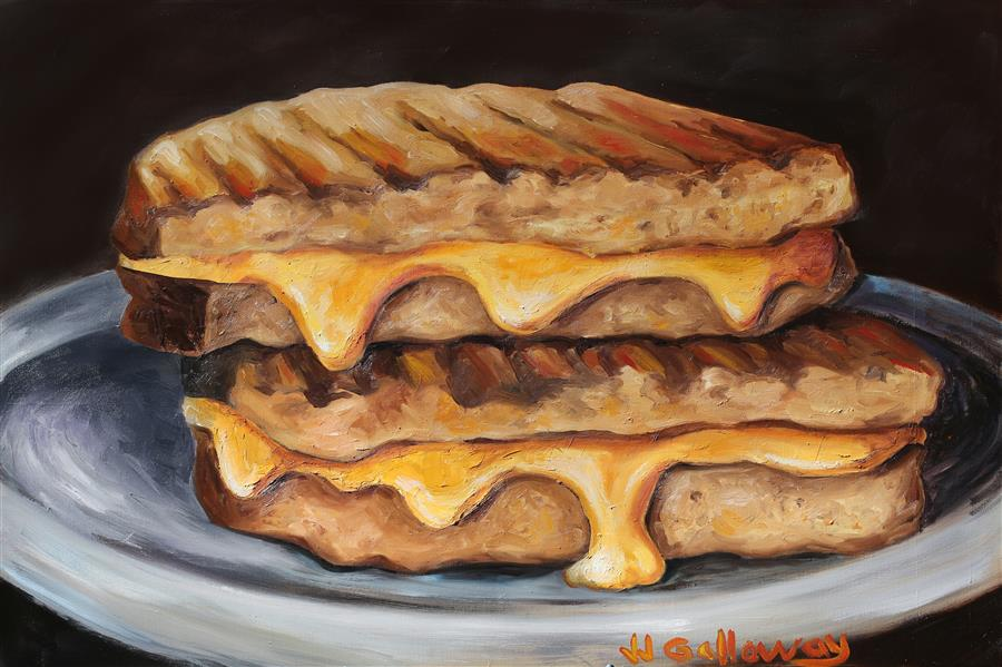 Original art for sale at UGallery.com | Grilled Cheese by JJ GALLOWAY | $1,600 |  | 24' h x 36' w | ..\art\oil-painting-Grilled-Cheese