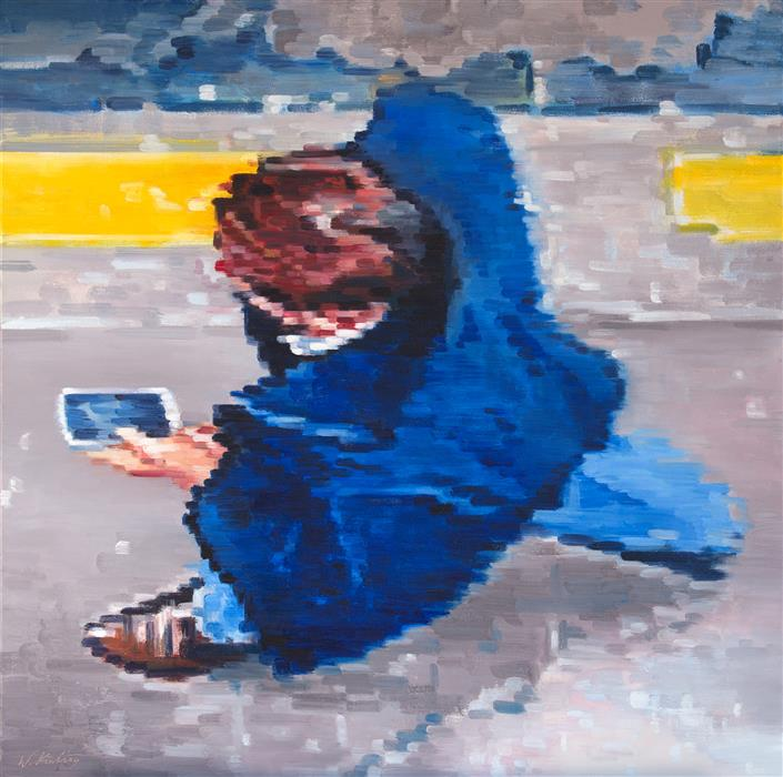 Original art for sale at UGallery.com | Cowboy Boots and Cell Phone by Warren Keating | $3,200 | oil painting | 30' h x 30' w | ..\art\oil-painting-Cowboy-Boots-and-Cell-Phone