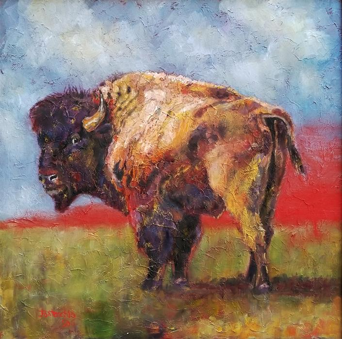 Original art for sale at UGallery.com | Lonely Bull by Jan Fontecchio Perley | $950 | oil painting | 18' h x 18' w | ..\art\oil-painting-Lonely-Bull