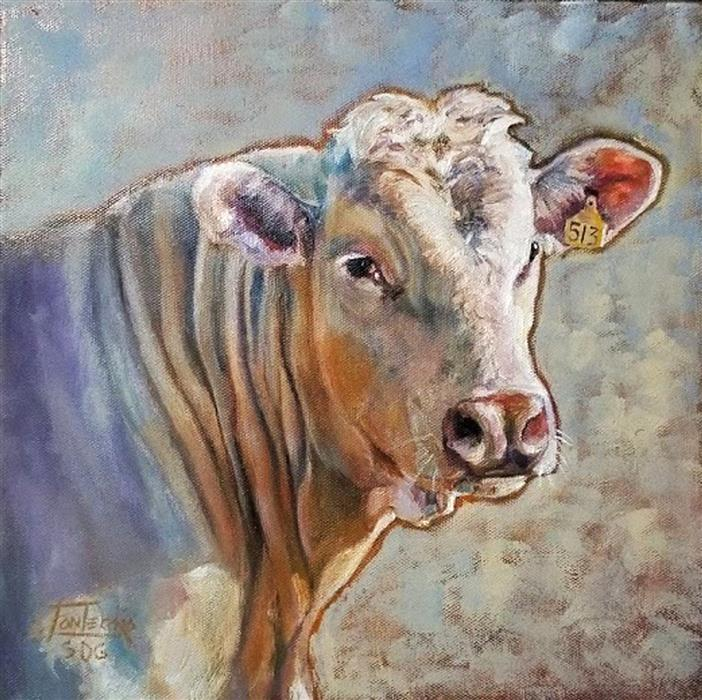 Original art for sale at UGallery.com | Charolais by Jan Fontecchio Perley | $525 | oil painting | 12' h x 12' w | ..\art\oil-painting-Charolais