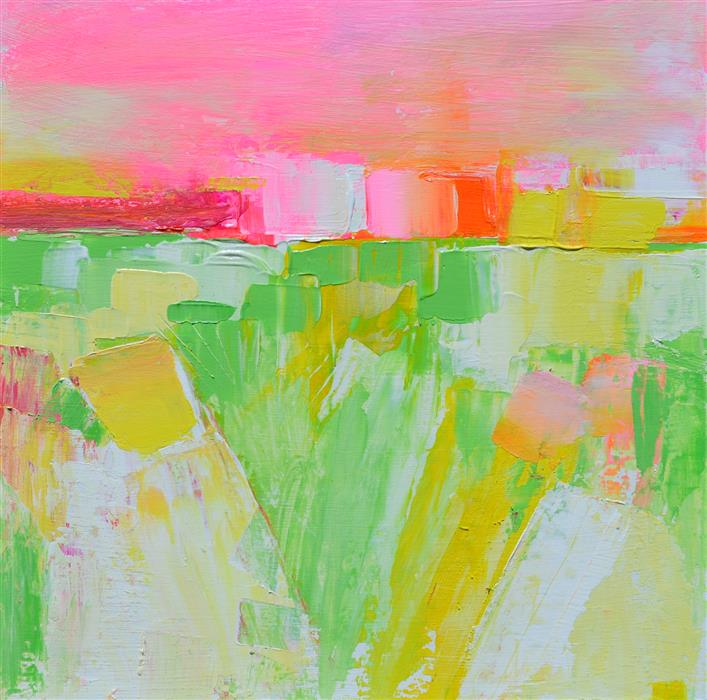 Original art for sale at UGallery.com | Landscape Abstraction with Fields of Green by Patrick O'Boyle | $275 | mixed media artwork | 12' h x 12' w | ..\art\mixed-media-artwork-Landscape-Abstraction-with-Fields-of-Green