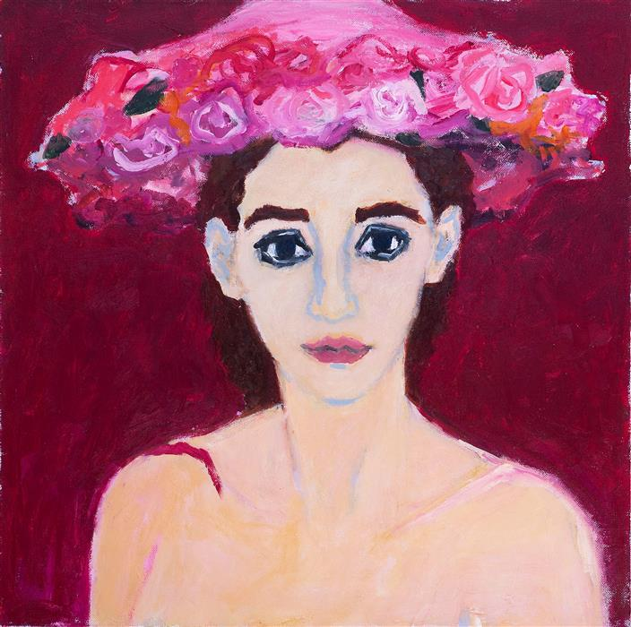 Original art for sale at UGallery.com | Woman in Flowered Hat by BETSY PODLACH | $6,200 |  | 28' h x 28' w | ..\art\oil-painting-Woman-in-Flowered-Hat