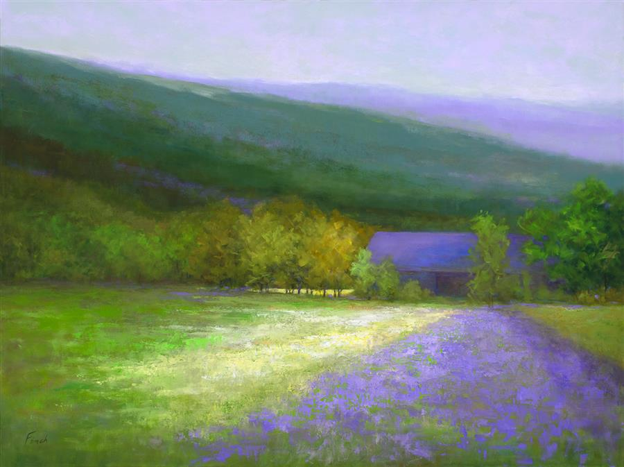 Original art for sale at UGallery.com | Purple Barn - Half Moon Bay by SHEILA FINCH | $7,400 |  | 36' h x 48' w | ..\art\oil-painting-Purple-Barn-Half-Moon-Bay