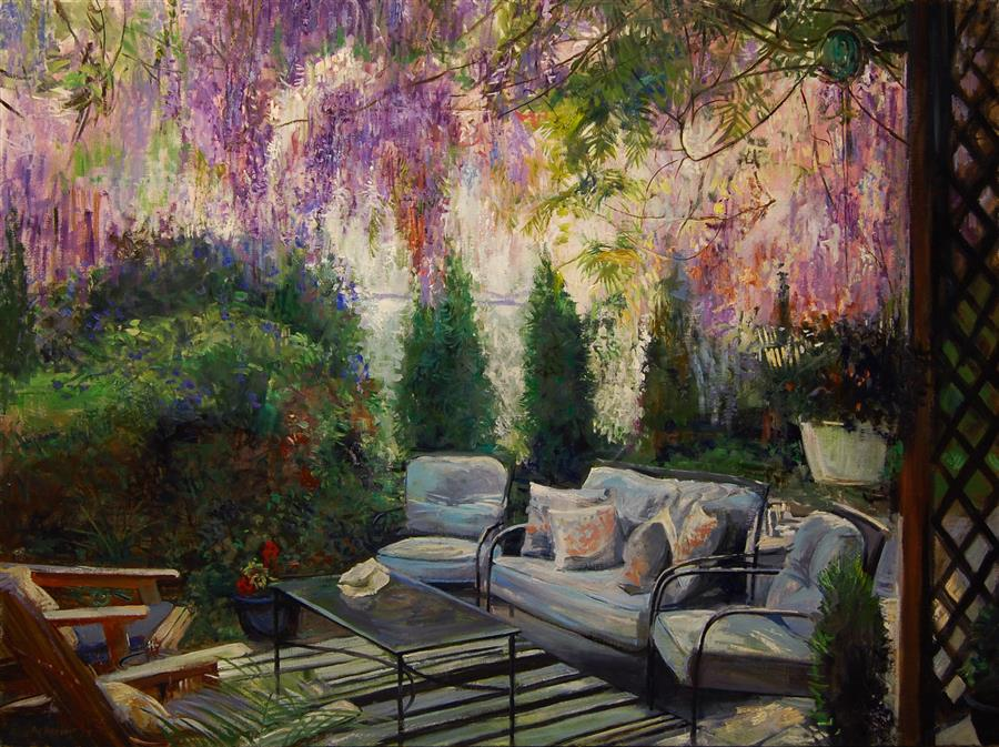 Original art for sale at UGallery.com | Wisteria Cascade by Onelio Marrero | $2,200 | oil painting | 30' h x 40' w | ..\art\oil-painting-Wisteria-Cascade