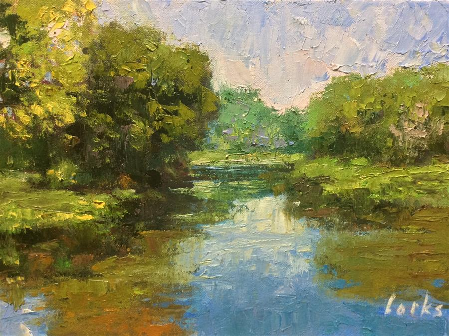 Original art for sale at UGallery.com | Calm Water by David Forks | $475 | oil painting | 9' h x 12' w | ..\art\oil-painting-Calm-Water