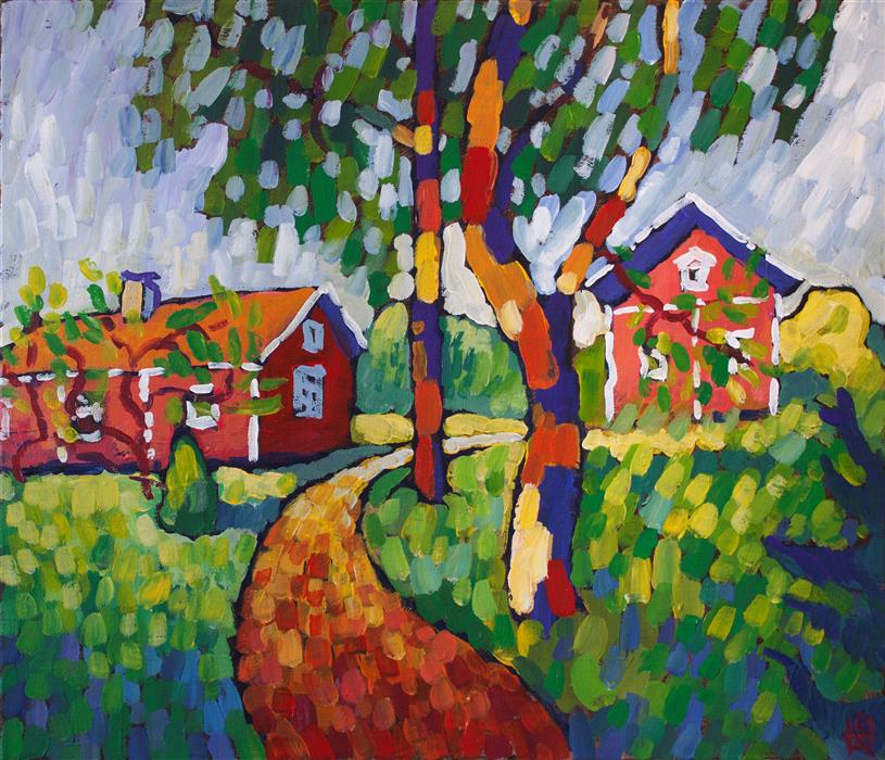 Original art for sale at UGallery.com | Two Cottages by ROBERT HOFHERR | $875 |  | 20' h x 24' w | ..\art\acrylic-painting-Two-Cottages
