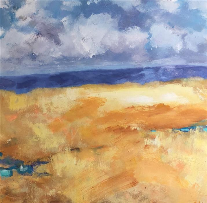 Original art for sale at UGallery.com | Amber Waves by Patricia Fabian | $3,200 | acrylic painting | 36' h x 36' w | ..\art\acrylic-painting-Amber-Waves-59113