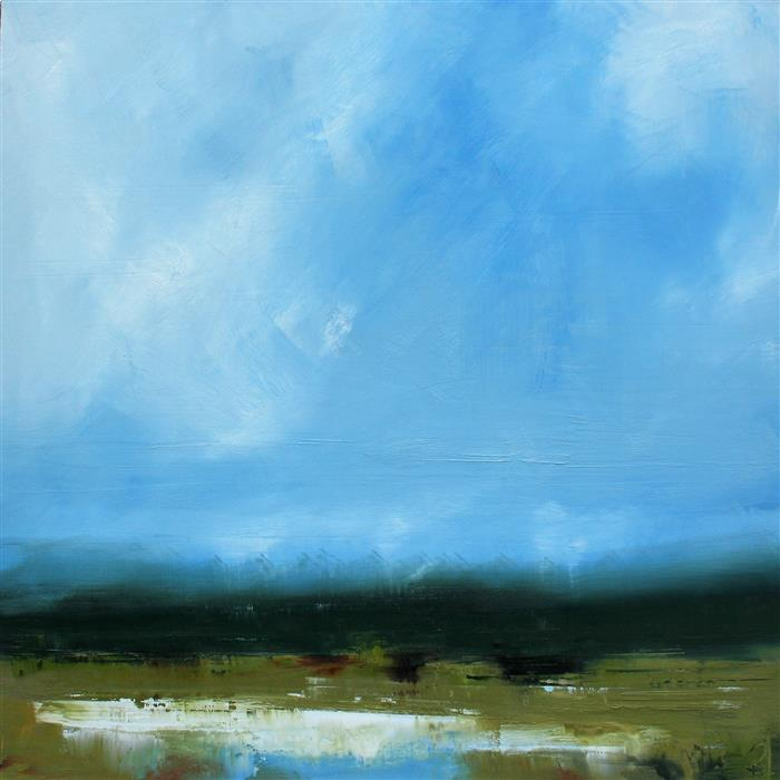 Original art for sale at UGallery.com | Blue Skies Over Ellis Field by RONDA WAIKSNIS | $2,100 |  | 36' h x 36' w | ..\art\oil-painting-Blue-Skies-Over-Ellis-Field