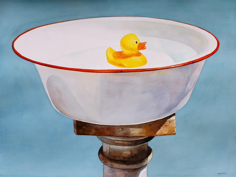 Original art for sale at UGallery.com | Bird Bath by Dwight Smith | $875 | watercolor painting | 22.5' h x 30' w | ..\art\watercolor-painting-Bird-Bath