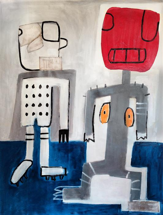 Original art for sale at UGallery.com | He Is in My Room by DANIEL MALTA | $2,000 |  | 59' h x 43.3' w | ..\art\mixed-media-artwork-He-Is-in-My-Room