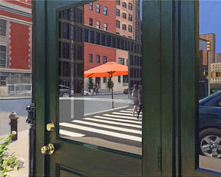 Original art for sale at UGallery.com | Crosswalk Reflections by Nick Savides | $2,100 | oil painting | 16' h x 20' w | ..\art\oil-painting-Crosswalk-Reflections