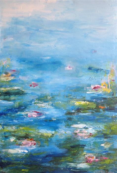Original art for sale at UGallery.com | Flowers of the Pond by HILMA KOELMAN | $1,950 |  | 35.5' h x 24' w | ..\art\acrylic-painting-Flowers-of-the-Pond
