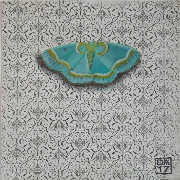 Original art for sale at UGallery.com | Embroidered Aqua Moth by DANA ALDIS | $200 |  | 6' h x 6' w | ..\art\acrylic-painting-Embroidered-Aqua-Moth