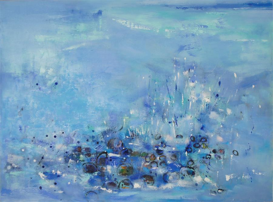 Original art for sale at UGallery.com | Low Tide Beach by CHANGSOON OH | $3,925 |  | 36' h x 48' w | ..\art\mixed-media-artwork-Low-Tide-Beach