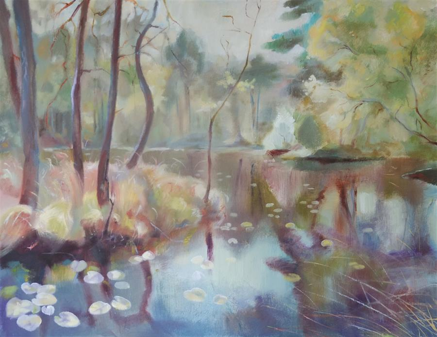 Original art for sale at UGallery.com | A Quiet Day on the Marsh by DINA VOLKOVA | $425 |  | 16' h x 20' w | ..\art\oil-painting-A-Quiet-Day-on-the-Marsh