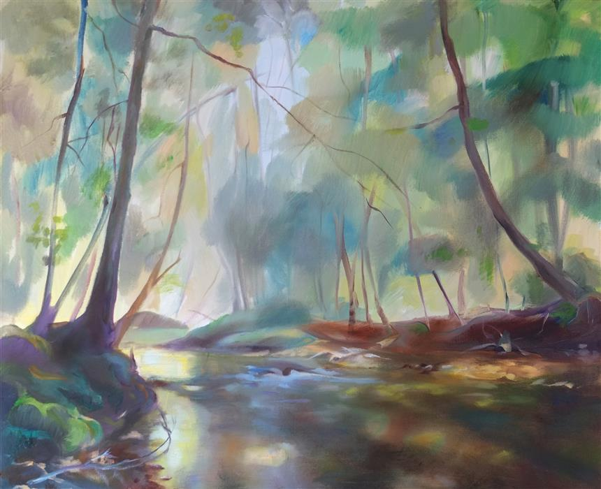 Original art for sale at UGallery.com | Stream by DINA VOLKOVA | $425 |  | 16' h x 20' w | ..\art\oil-painting-Stream-59227