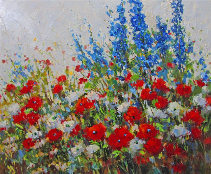 Original art for sale at UGallery.com | Poppy Fields #2 by TRICIA MAY | $2,800 |  | 30' h x 36' w | ..\art\oil-painting-Poppy-Fields-2