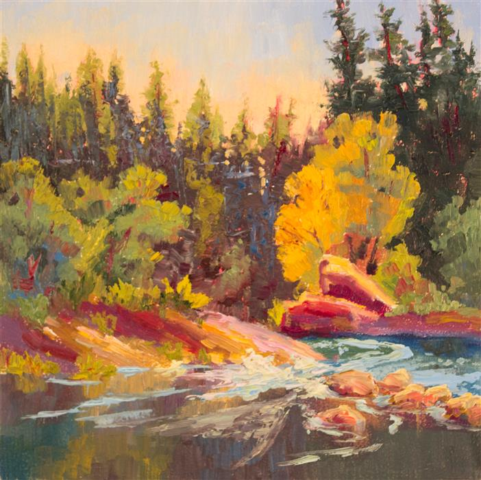 Original art for sale at UGallery.com | Golden Trees Downstream by Karen E Lewis | $475 | oil painting | 12' h x 12' w | ..\art\oil-painting-Golden-Trees-Downstream