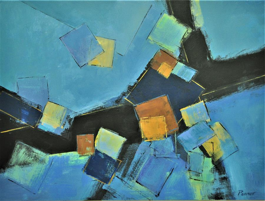 Original art for sale at UGallery.com | Blue Dimensions by Robert Pennor | $1,975 | acrylic painting | 30' h x 40' w | ..\art\acrylic-painting-Blue-Dimensions