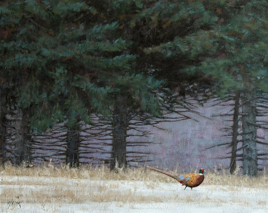 Original art for sale at UGallery.com | Pheasant in the Pines by NATHAN HAGER | $975 |  | 16' h x 20' w | ..\art\oil-painting-Pheasant-in-the-Pines