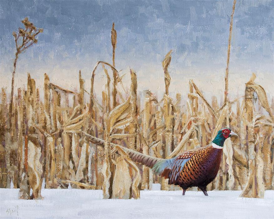 Original art for sale at UGallery.com | Pheasant in the Corn by NATHAN HAGER | $1,325 |  | 16' h x 20' w | ..\art\oil-painting-Pheasant-in-the-Corn