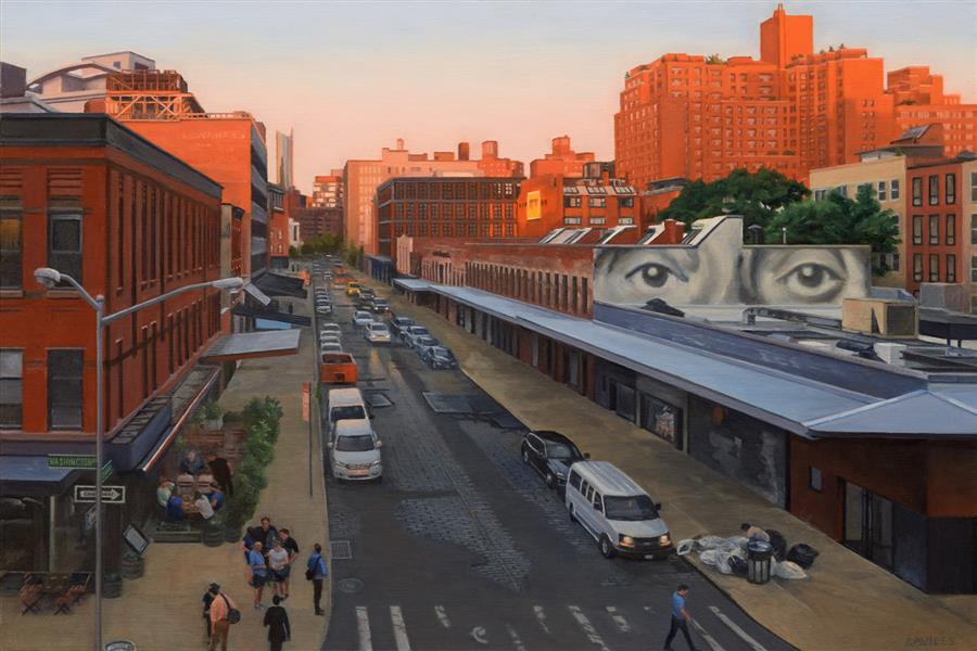 Original art for sale at UGallery.com | View from the Highline at Sunset – Gansevoort Street by Nick Savides | $3,700 | oil painting | 24' h x 36' w | ..\art\oil-painting-View-from-the-Highline-at-Sunset-Ganservoort-Street
