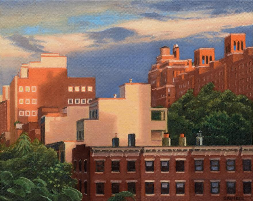 Original art for sale at UGallery.com | Chelsea Rooftops at Sunset, from the Highline by NICK SAVIDES | $825 |  | 8' h x 10' w | ..\art\oil-painting-Chelsea-Rooftops-at-Sunset-from-the-Highline
