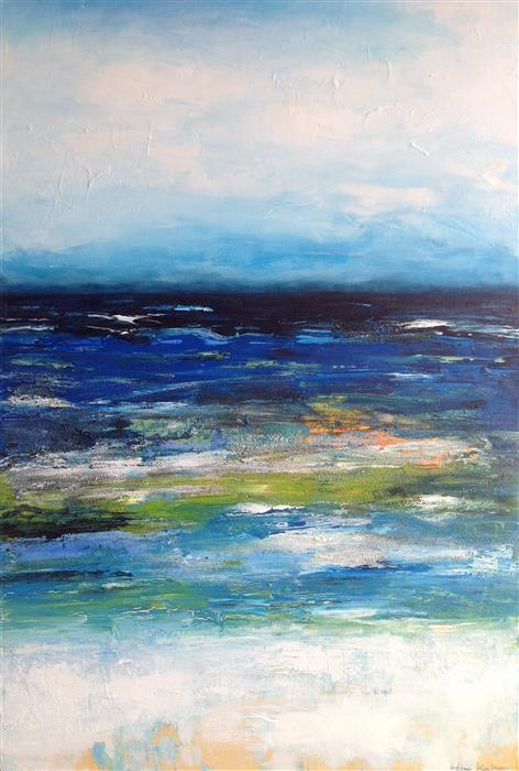Original art for sale at UGallery.com | Blue Seas by HILMA KOELMAN | $1,950 |  | 35.5' h x 24' w | ..\art\mixed-media-artwork-Blue-Seas-59320