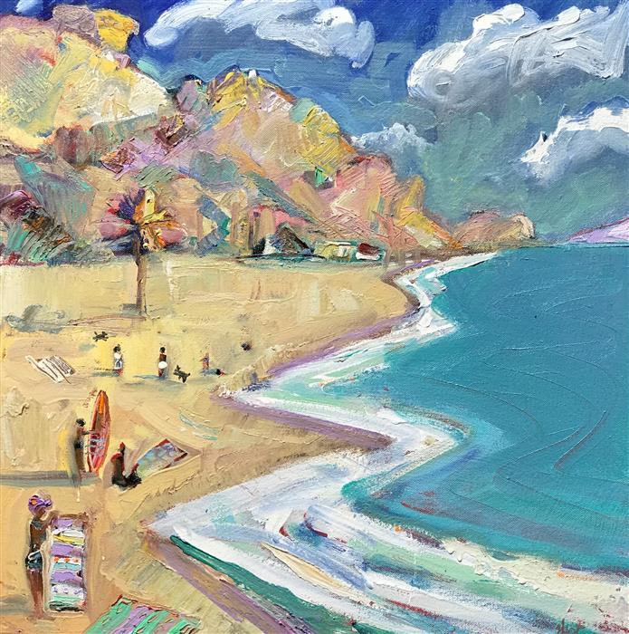 Original art for sale at UGallery.com | Beach Scene by JAMES HARTMAN | $1,000 |  | 20' h x 20' w | ..\art\oil-painting-Beach-Scene