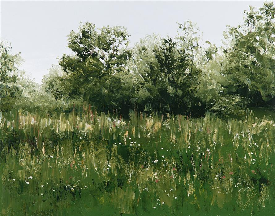 Original art for sale at UGallery.com | Field of White and Gold by JILL POYERD | $825 |  | 11' h x 14' w | ..\art\oil-painting-Field-of-White-and-Gold