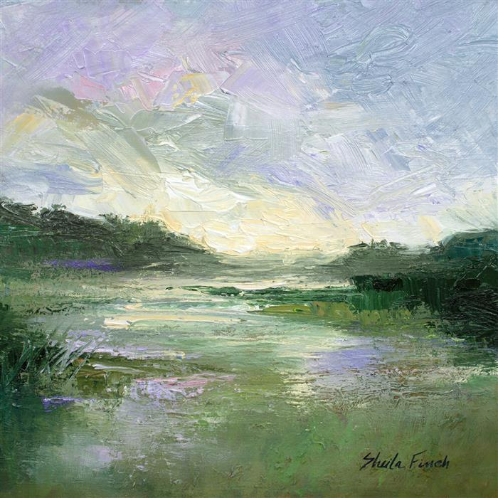 Original art for sale at UGallery.com | Passing Showers at Pescadero Bird Sanctuary by SHEILA FINCH | $875 |  | 10' h x 10' w | ..\art\oil-painting-Passing-Showers-at-Pescadero-Bird-Sanctuary
