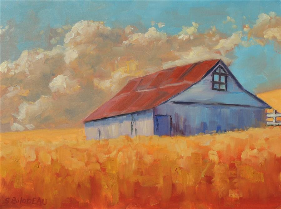 Original art for sale at UGallery.com | Barn on the Hill by STEVEN GUY BILODEAU | $525 |  | 12' h x 16' w | ..\art\oil-painting-Barn-on-the-Hill