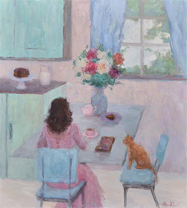 Original art for sale at UGallery.com | Breakfast for Two by OKSANA JOHNSON | $4,475 |  | 40' h x 36' w | ..\art\oil-painting-Breakfast-for-Two
