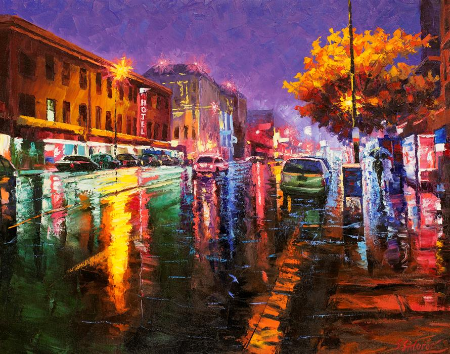 Original art for sale at UGallery.com | Broadway at Night, Downtown Denver by Stanislav Sidorov | $1,500 | oil painting | 30' h x 24' w | ..\art\oil-painting-Broadway-at-Night-Downtown-Denver-59396