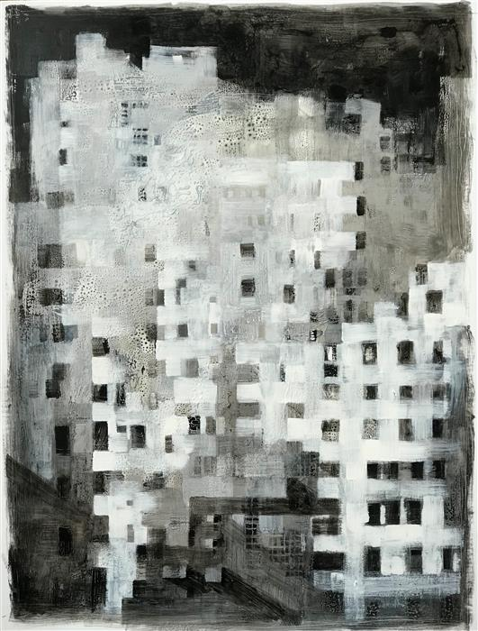 Original art for sale at UGallery.com | Citylife 7 by ALESSANDRO ANDREUCCETTI | $1,300 |  | 32.28' h x 25.19' w | ..\art\acrylic-painting-Citylife-7