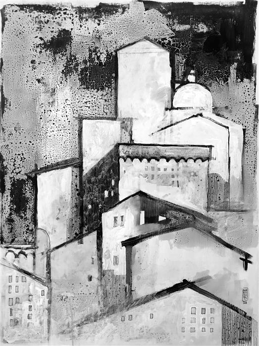 Original art for sale at UGallery.com | Citylife 9 by ALESSANDRO ANDREUCCETTI | $1,300 |  | 31.49' h x 23.62' w | ..\art\acrylic-painting-Citylife-9