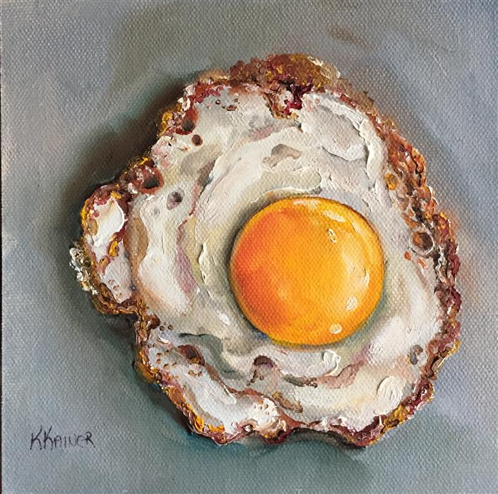Original art for sale at UGallery.com | Sunny Side Up Egg by Kristine Kainer | $325 | oil painting | 6' h x 6' w | ..\art\oil-painting-Sunny-Side-Up-Egg