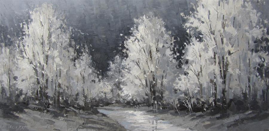 Original art for sale at UGallery.com | Full Moon by TRICIA MAY | $2,050 |  | 18' h x 36' w | ..\art\oil-painting-Full-Moon