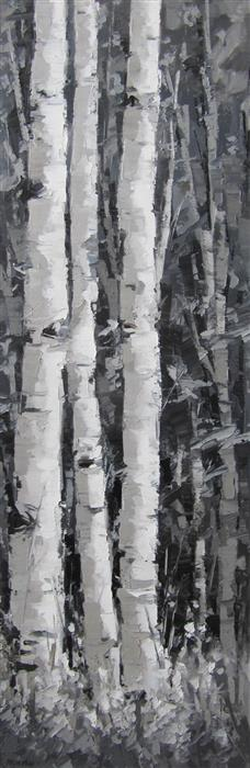 Original art for sale at UGallery.com | Forest Aspens #1 by TRICIA MAY | $1,400 |  | 36' h x 12' w | ..\art\oil-painting-Forest-Aspens-1