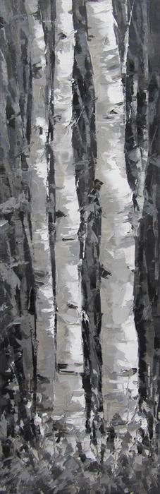 Original art for sale at UGallery.com | Forest Aspens #2 by TRICIA MAY | $1,400 |  | 36' h x 12' w | ..\art\oil-painting-Forest-Aspens-2