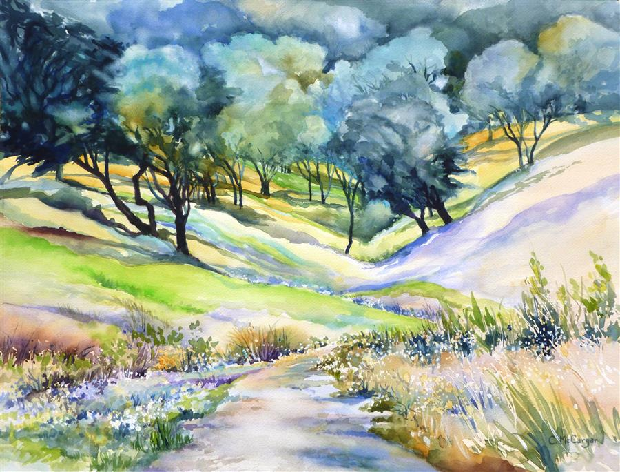 Original art for sale at UGallery.com | Path to Castle Rock, II by Catherine McCargar | $1,375 | watercolor painting | 18' h x 24' w | ..\art\watercolor-painting-Path-to-Castle-Rock-II