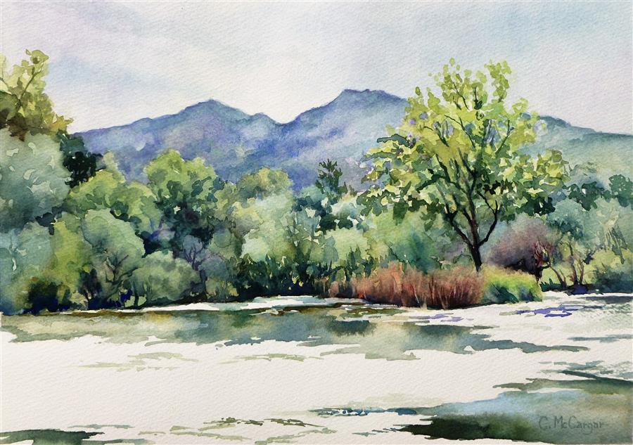 Original art for sale at UGallery.com | Mt. Diablo Across the Pond by Catherine McCargar | $525 | watercolor painting | 10' h x 14' w | ..\art\watercolor-painting-Mt-Diablo-Across-the-Pond