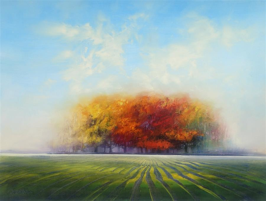 Original art for sale at UGallery.com | Autumn Colors II by George Peebles | $2,600 | oil painting | 36' h x 48' w | ..\art\oil-painting-Autumn-Colors-II