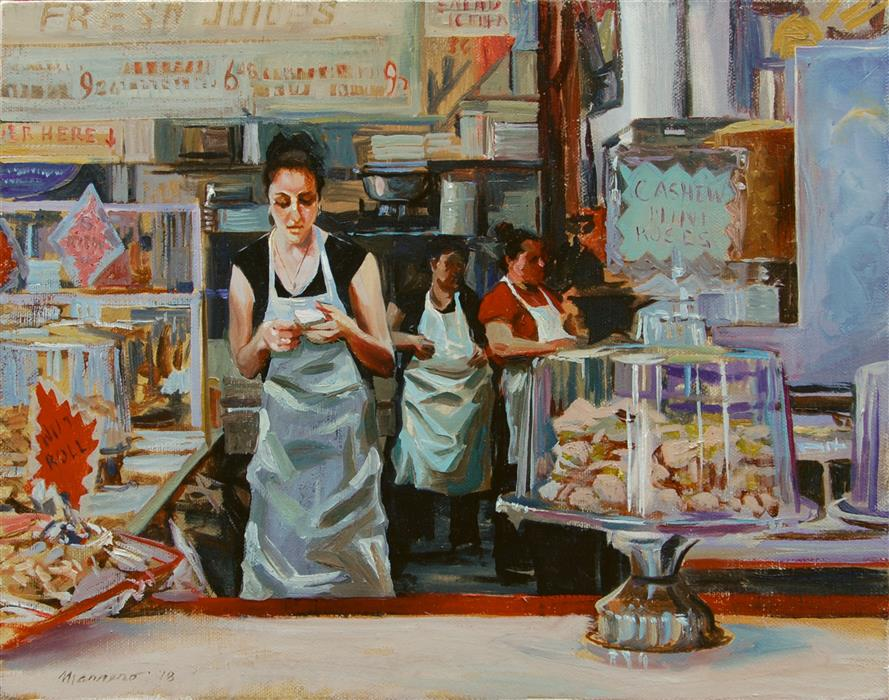 Original art for sale at UGallery.com | Pastry Counter by Onelio Marrero | $625 | oil painting | 11' h x 14' w | ..\art\oil-painting-Pastry-Counter