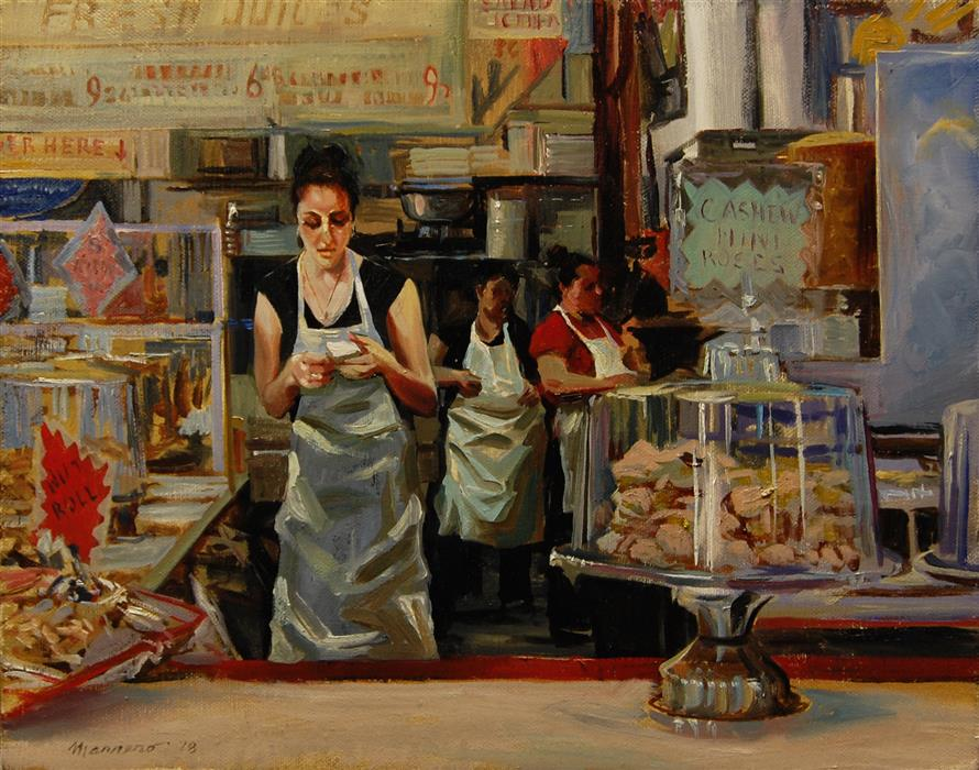 Original art for sale at UGallery.com | Pastry Counter by ONELIO MARRERO | $575 |  | 11' h x 14' w | ..\art\oil-painting-Pastry-Counter