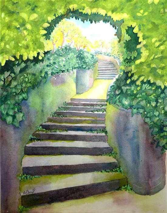 Original art for sale at UGallery.com | Steps by NANCY MUREN | $775 |  | 20' h x 16' w | ..\art\watercolor-painting-Steps